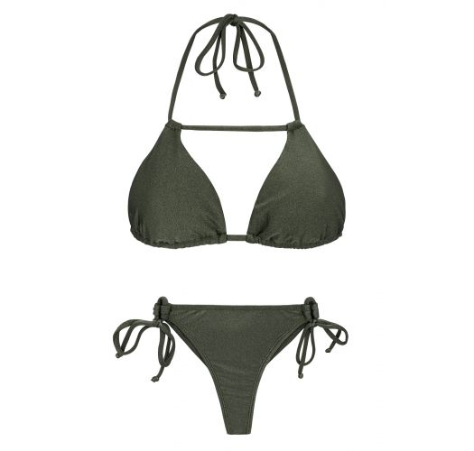 Khaki side-tie triangle bikini with stripes - CROCO DETAIL