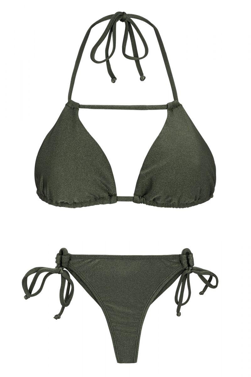 Khaki side-tie triangle bikini with stripes - CROCO DETAIL