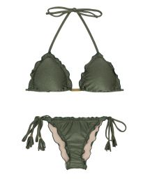 Khaki scrunch bikini with wavy edges - CROCO FRUFRU
