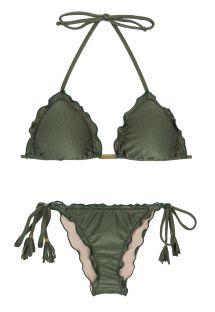 Bikini scrunch verde militare con bordi ondulati - CROCO FRUFRU