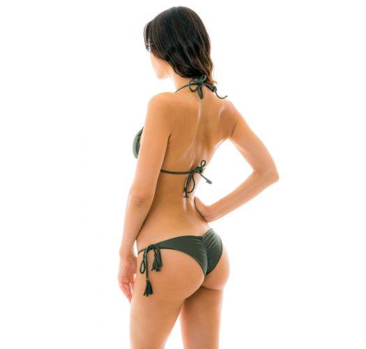 Khaki scrunch bikini with wavy edges - CROCO FRUFRU