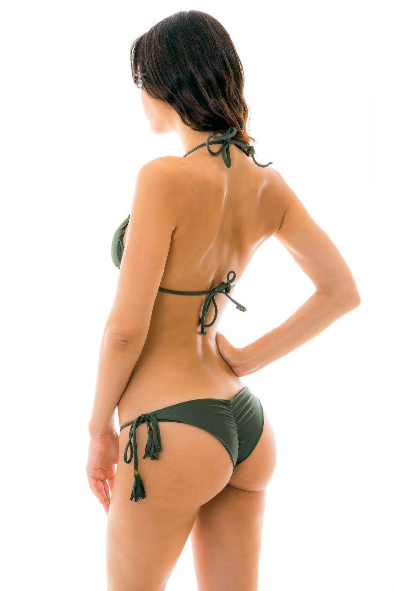 Skrynklad brasiliansk bikini, kakifärgad med vågiga kanter - CROCO FRUFRU