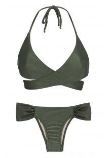 Khaki wrap bra bikini - CROCO TRANSPASSADO