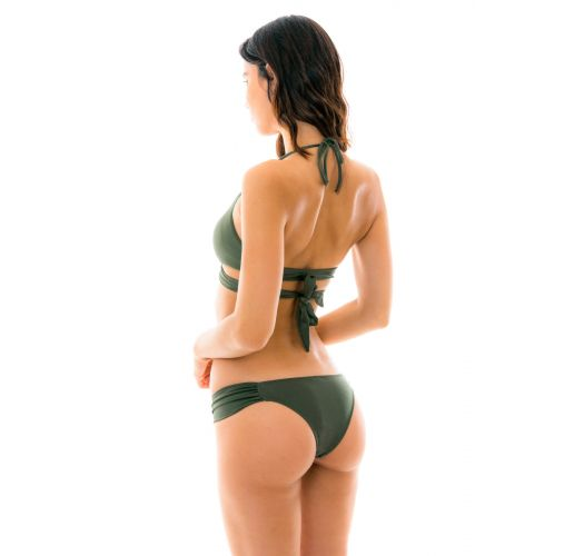 Bikini mit gekreuztem BH und Tanga in khaki - CROCO TRANSPASSADO