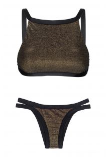 Sort crop top bikini med lurex og trusse med pynteremme - CROPPED RADIANTE