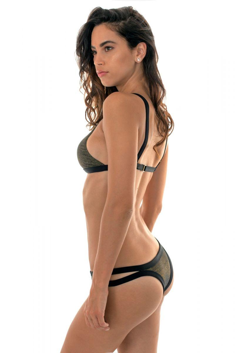Bikini crop top black lurex and strappy bottoms - CROPPED RADIANTE