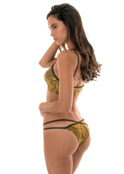 Bikini med kort topp i guldfärg med tryck och band i lurex - CROPPED STRAPPY RELUZENTE