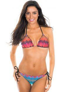 Bikini brasileño tipo scrunch con estampado geométrico - CURIANGO PRETO
