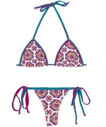 Colourful mandala-style floral print thong bikini - DALIA ROSADA