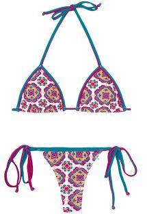 Bikini string coloré imprimé fleurs mandala - DALIA ROSADA