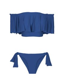 Blue off-the-shoulder crop top bikini with a deep flounce - DENIM BABADO