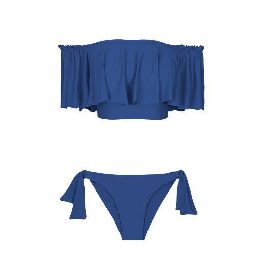 ביקיני בסגנון קרופ-טופ בצבע כחול מוסט כתף עם וולנטים - DENIM BABADO