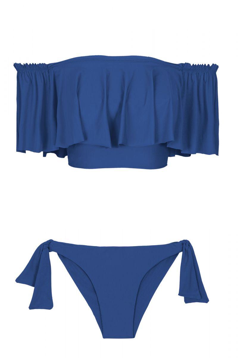 Blue off-the-shoulder crop top bikini with a deep flounce - DENIM BABADO