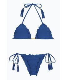 Denimblå, skrynklad bikini dekorerad med fransar - DENIM FRUFRU