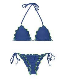Blue scrunch bottom bikini with contrasting neon coloured trim - DENIM FRUFRU LITORAL