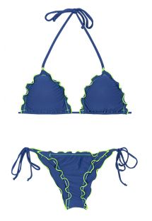 Blue scrunch bottom bikini with contrasting neon coloured trim - DENIM FRUFRU LITORAL