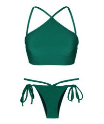 Green textured bikini crop top and strappy bottoms - DUNA GREEN CROPPED NECK