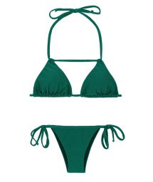 Green textured bikini with neck strap detail - DUNA GREEN DETAIL