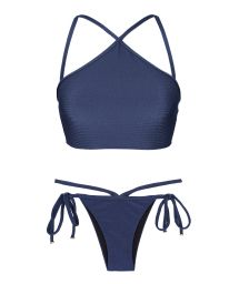 Navy blue textured crop top bikini - DUNA MARINHO CROPPED NECK