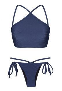 Crop top-bikini, marineblå med tekstur - DUNA MARINHO CROPPED NECK