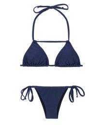 Blue textured bikini with neck strap detail - DUNA MARINHO DETAIL