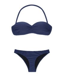 Navy blue bandeau bikini with moulded cups - DUNA MARINHO TOMARA QUE CAIA