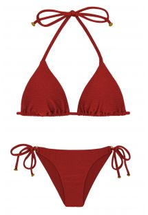 Textured triangle deep red bikini with golden details - DUNA TRI DIVINO