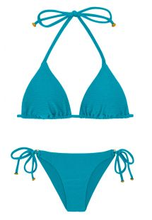 Textured triangle blue bikini with golden details - DUNA TRI FIORDE