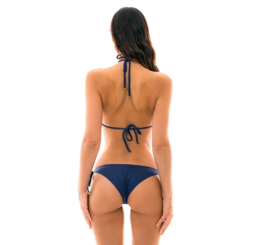 Textured triangle navy bikini with golden details - DUNA TRI MARINHO