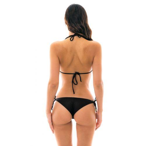 Texturierter Triangel-Bikini mit Accessoire - DUNA TRI PRETO
