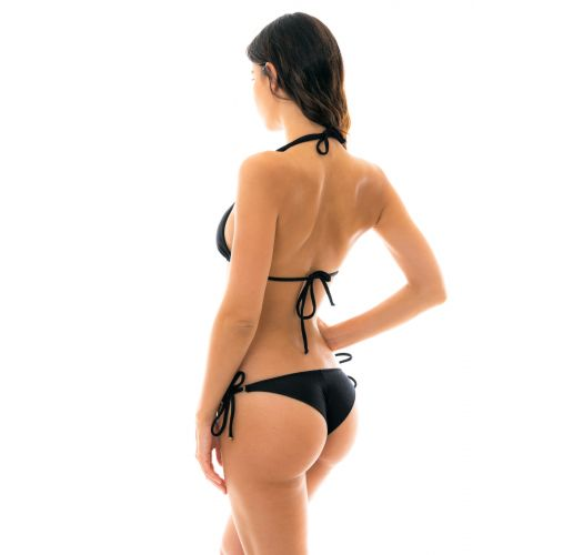 Textured triangle black bikini with golden details - DUNA TRI PRETO
