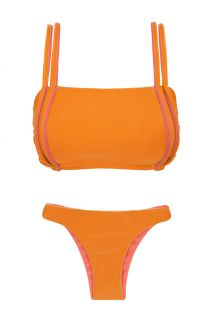 Orange bikini med bh-top, pink detaljer og vendbar trusse - DUO ORANGE