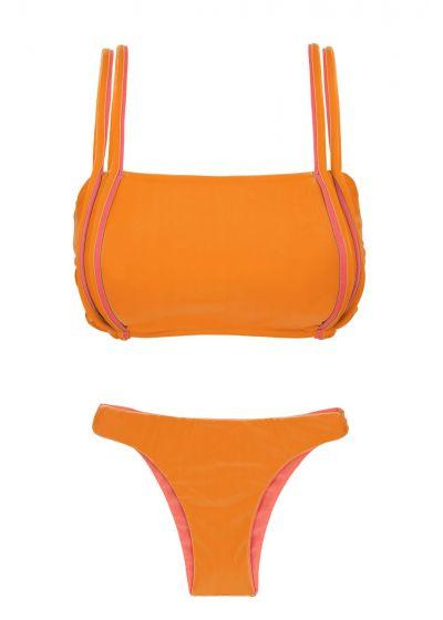 Orange bikini med röda detaljer och vändbar nederdel - DUO ORANGE