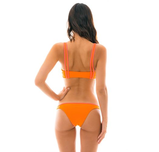 Orange bra bikini with pink details and reversible bottom - DUO ORANGE