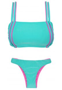 Blue and pink bra bikini with reversible bottom - DUO PINK BLUE