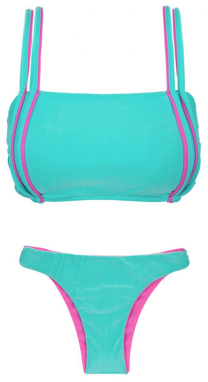 Blå/rosa vändbar bikini med BH-överdel och tanga - DUO PINK BLUE
