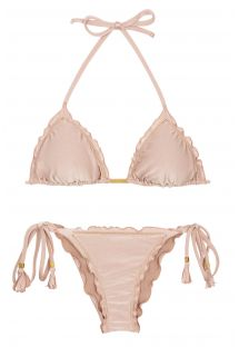 Accessorized nude pink Brazilian scrunch bikini - ESSENCE FRUFRU