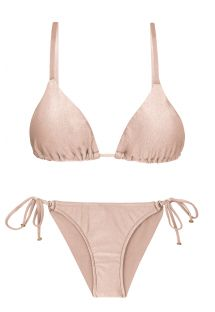 Accessorized nude pink scrunch bikini - ESSENCE INV COMFORT