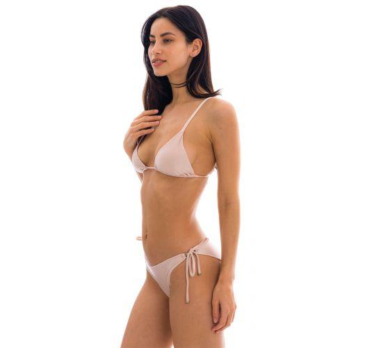 Accessorized nude pink scrunch bikini - ESSENCE INV COMFORT