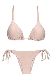 Accessorized nude pink side-tie Brazilian bikini - ESSENCE INVISIBLE