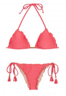 Bikini brésilien scrunch rose irisé à pompons - FLORENCE FRUFRU