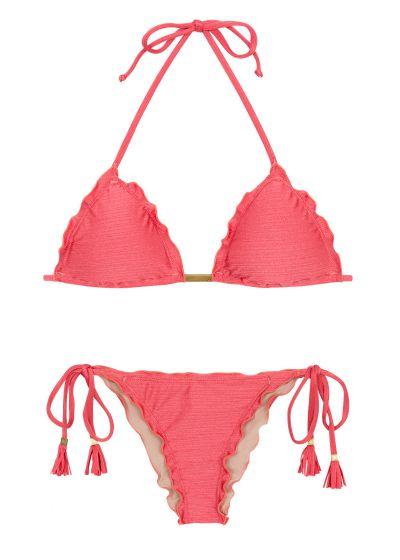 Pink side-tie scrunch bikini - FLORENCE FRUFRU