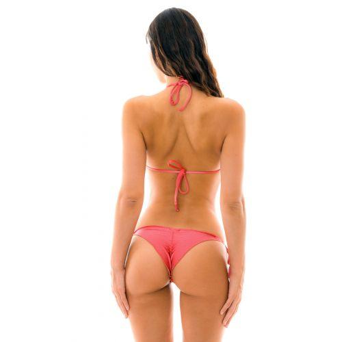 Brasilian Scrunch Bikini, rosa irisiert, mit Pompons - FLORENCE FRUFRU
