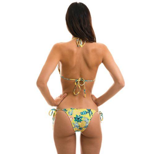 Accessorized floral side-tie bikini - FLORESCER INVISIBLE