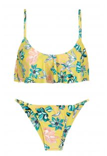 Yellow floral adjustable scrunch bikini with ruffled top - FLORESCER BABADO