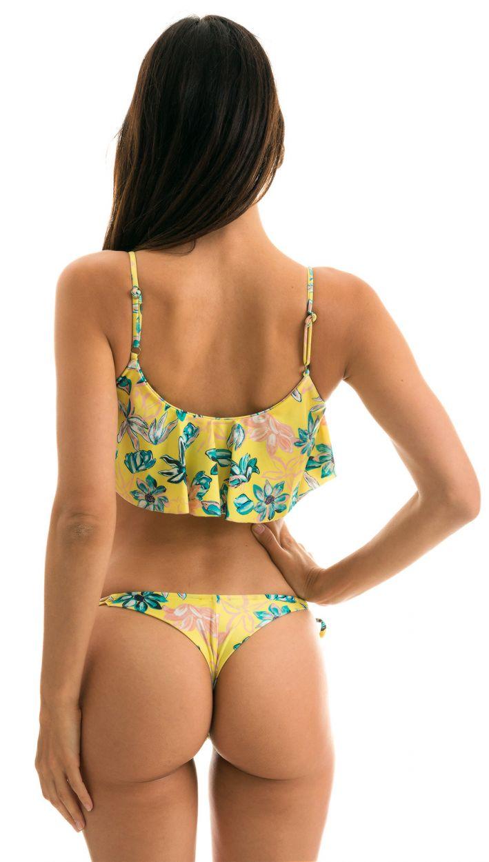Yellow floral side-tie scrunch thong bikini with ruffled top - FLORESCER BABADO MICRO