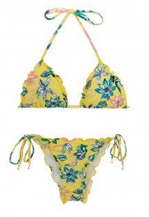 Bikini scrunch con lacci floreale  - FLORESCER FRUFRU