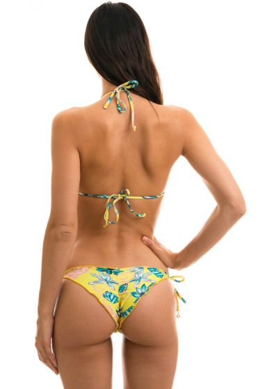 Floral side-tie scrunch bikini - FLORESCER FRUFRU