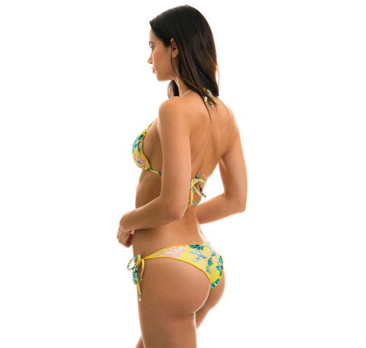 Kwiatowe wiązane bikini typu scrunch - FLORESCER FRUFRU