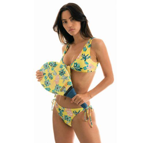 Accessorized yellow floral side-tie bikini - FLORESCER HIGH COMFORT